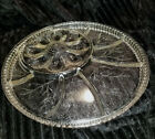 Vtg Indiana Clear Cut Glass Floral Tree 8 Sect Relish Egg Tray XL Serving Dish