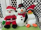 LOT OF 3 CHRISTMAS BEANIE BABIES SANTA SNOWMAN PENQUIN WITH TAGS