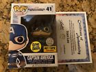 Funko Pop - GITD Captain America Hot Topic Exclusive - Signed by Stan Lee w coa