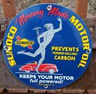 OLD 1937 SUNOCO MERCURY MADE MOTOR OIL PORCELAIN ENAMEL GAS PUMP STATION SIGN