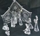 Acrylic Nativity set with Back Drop in original box 10 pcs SCULPTURED ICE look