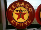 gas pump globe TEXACO ETHYL repo 2 glass lens LIGHT NEW