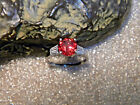 245 Ct VVS1 Red Orange Padparadscha Sapphire Accents 925 Silver Ring Size US7