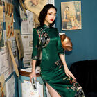 New Luxurious Green Oriental Floral Satin Long Dress Cheongsam Qipao lcdress101