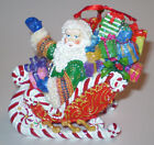 Radko Ornament Santa in Sled with Candy Cane & Peppermints SO COLORFUL
