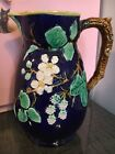 Antique Majolica Cobalt Blackberries Twig Handle Pitcher 75 High