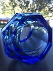 MOSER Crystal Vase Blue Sapphire Gorgeous RARE UNUSUAL DESIGN Signed Etched