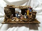 VINTAGE ITALIAN NATIVITY SET MANGER UNIQUE CORK CRECHE 11 FIGURE