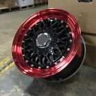 15 RS STYLE WHEELS RIMS BLACK RED FITS HONDA CIVIC PRELUDE INSIGHT CRX ACCORD