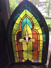 LARGE ARCHED ANTIQUE CHURCH STAINED GLASS WINDOW 52 x 33
