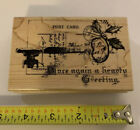 Stampendous Rubber Stamp Key Note Post Card Christmas Holly Joy Greetings NEW