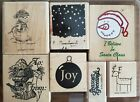 Lot of 7 Rubber Stamps some Stampin Up Christmas Bird house Deer Joy Retired