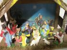 Vintage 12 Piece NAtivity Set with Creche Manger Stable Made in Italy
