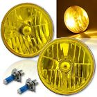 7 H6024 6014 Yellow Amber Crystal Glass Headlight H4 Halogen Fog Light Pair