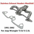 91 02 For Jeep Wrangler TJ  YJ 25L Stainless Exhaust Headers Manifold System