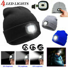 Unisex LED USB Rechargeable Beanie Knitted Cap Hat Climbing Head Lamp Light Hat