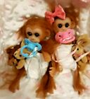 TWINS REBORN MINI BABY MONKEY DOLL TAKES A PACIFIER BOY AND GIRL BOTH
