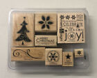 Stampin Up 2007 Christmas Season Joy Wood Mounted Rubber Stamps Set 8pc