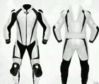MOTORCYCLE CUSTOM LEATHER WHITE BLACK RACE 1PIECE SUIT CE APPROVED ALL SIZES