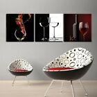 WINE GLASS framed mounted 3 pcs PVC canvas wall art print better than stretched
