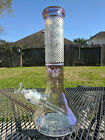 Blossom Glass Beaker Water Pipe 125 Tall and 7mm Thick Sandblasted Pink