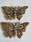 Large Rhinestone Antique Silver Butterfly Pendants With Hangers 2 Pieces