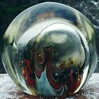 Lovely Large Signed Karnig Glass Paperweight Lava Bed  Bubble Brown Blue etc
