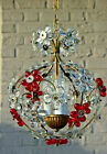 Top Vintage 1970 GLass Daisy flower glass Ball red clear Attr Maison Bagues
