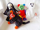 Halloween Beanie Babies Lot of 4, Sheets, Fraidy, Creepers, Frankenteddy, MWT