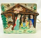 Vintage Lighted Nativity Scene Ceramic Light Up Set Small Electric Painted Japan