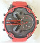 Diesel Mr. Daddy Men's Watch Dual Time Gray Chronograph Dial Red Band DZ7370 VIP