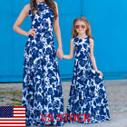 US Mommy and Me Family Matching Dress Women Girl Mother Daughter Floral Sundress