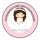 First Communion label sticker Set 24 Brown haired girl centered personalized