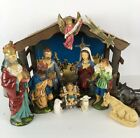 Vintage Sears Lighted Musical Nativity Set Creche Japan 15 Pc Paper Mache 1970s