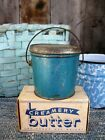 Very Small Antique Tin Pail Original Robins Egg Blue Paint Free Shipping