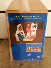 Vintage General Foam Plastic Blow Mold Nativity 3 Piece Set Christmas w Box