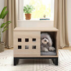 Indoor Rectangular Wood Pet House Furniture for Dog Cat W Cushion and 6 Vents