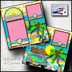 SPRING BREAK premade scrapbook pages paper piecing printed BEACH VACATION CHERRY