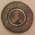 Vintage STERLING SILVER Signed 1298 Purse MIRROR w Colonial Lady Picture Accent