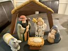 Unique Vintage Carved Wood And Painted Nativity Scene Large Rare