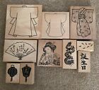 JUDI KINS WOODEN RUBBER MOUNTED STAMPS SET OF 10 ORIENTAL THEMED NEW