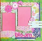 Handmade MAY YOU BLOOM Basic Grey Floral 12x12 Premade Scrapbook Layout Page