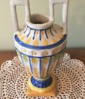 Vintage Deruta Italy Pottery Two Handled Vase Blue Yellow 105