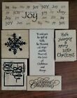 Mixed Lot of 6 wood mounted Rubber Stamps Snowflake Merry Christmas Joy