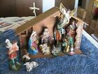 WONDERFUL VINTAGE HAND PAINTED 13 PIECE NATIVITY SET JAPAN