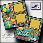 BIRTHDAY BOY 2 premade scrapbook pages paper piecing printed layout CHERRY 0133