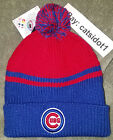 NWT MLB Chicago Cubs Pom Beanie Knit Hat. BRAND NEW! Embroiderd Cubs Logo