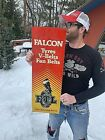 Vintage Rare Vertical Falcon Tire V Fan Belt Metal Sign W/ Gr8 Graphic Gas / Oil