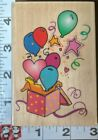 Party balloons coming out of gift c103 inkadinkadowoodrubber stamp