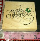 Very elegant Merry Christmas rubber stampede 63 woodenrubberstamp